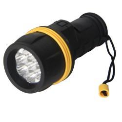 Linterna goma, resiste el agua 3 LEDs, Negra - Blister.