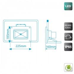 Proyector de LED de 30W Frío 6000K con soporte