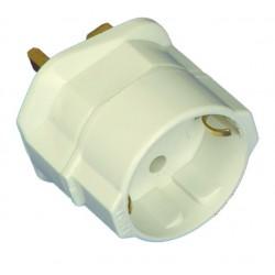 Adaptador clavija inglesa a europea Ø 4,8 mm incluye fusible 13A toma de tierra