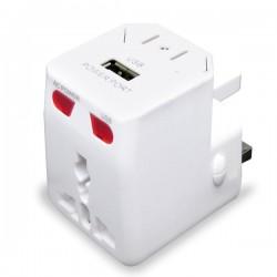 Adaptador de viaje universal con USB