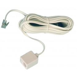 Prolongador de telefono macho a hembra 6P/4C, Blanco. de 7,5 metros.
