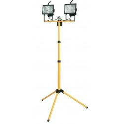Doble foco halogeno movil con tripode telescopico y cable electrico para enchufe 2P+TT lateral.