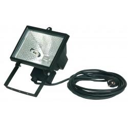 Foco halogeno con sujección giratoria variable, con cable de 3x1,0mm. 500W, 230V.-IP55, Color negro.