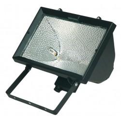 Foco halogeno con sujección giratoria variable, 1.500W, Negro.