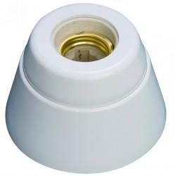Portalámparas casquillo E27 de zócalo recto color blanco. Resina urea e interior de porcelana
