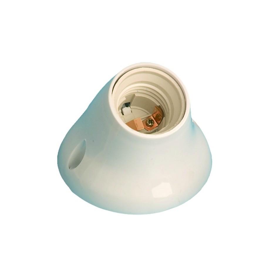 Portalámparas casquillo E27 de color blanco, termoplástico Máx. 40W 4A 250V, curvo