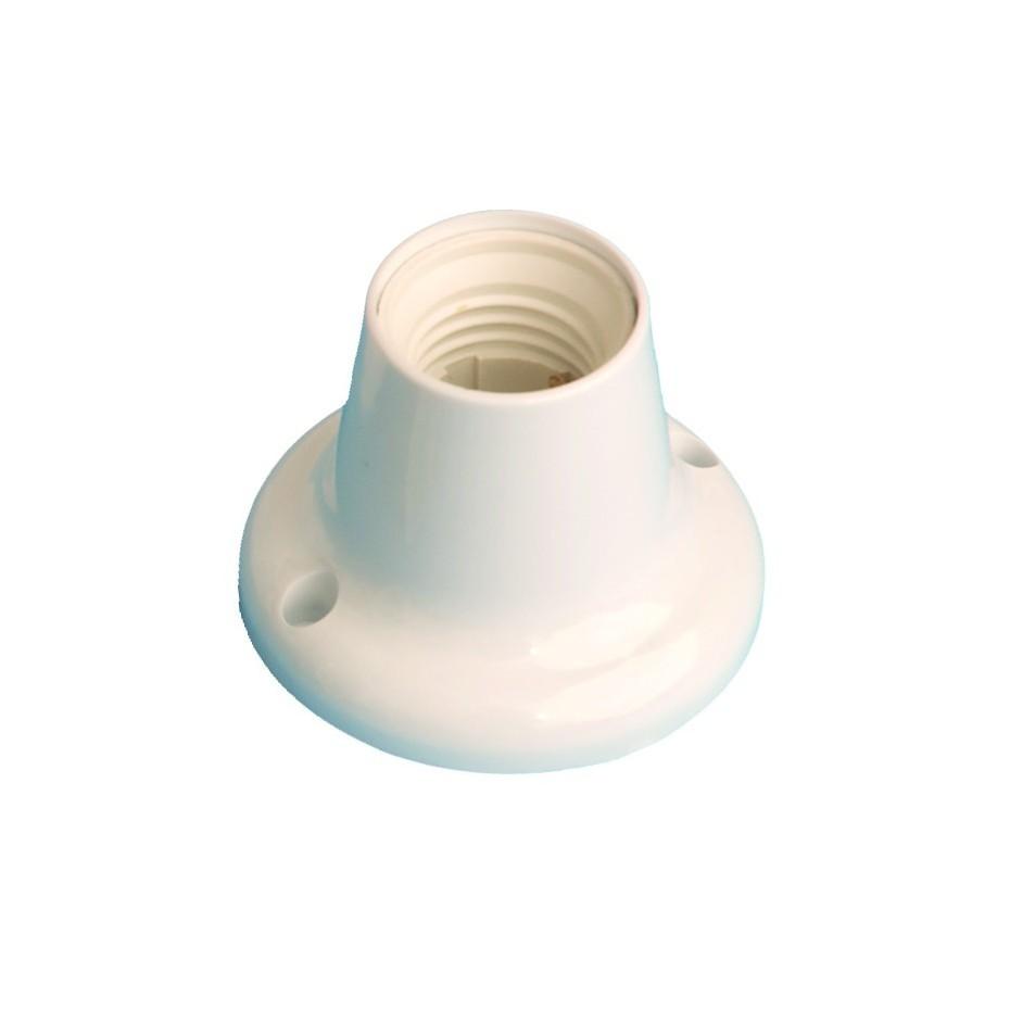 Portalámparas casquillo E27 de color blanco, termoplástico Máx. 40W 4A 250V, recto