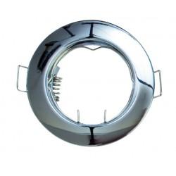 Aro fijo redondo empotrable en techo para lampara dicroica. MR16-12V-Máx.50W. Bronce.