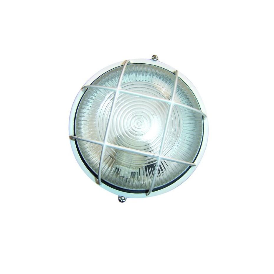 Aplique redondo de aluminio enrejillado, E27, Máx. 60W 230C.IP44 color Blanco.