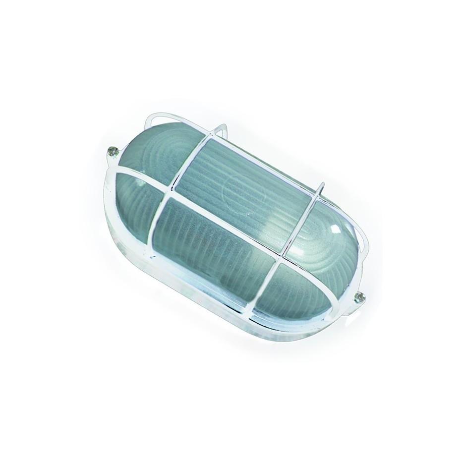 Aplique ovalado de aluminio enrejillado, E27, Máx. 60W 230C.IP44 color Blanco.