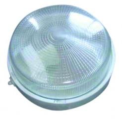 Aplique redondo de plástico con mateial aislante y difusor de vidrio,E27.Máx.100W.230V. 255mm. Blanco