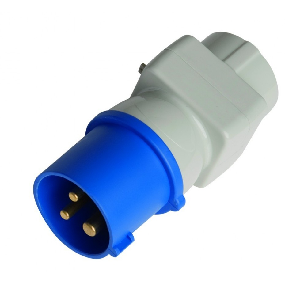 Adaptador clavija cetac 3P(2P+y) IP44-16A. 250V. a base aérea sucko 4,8mm 16A. 250A.