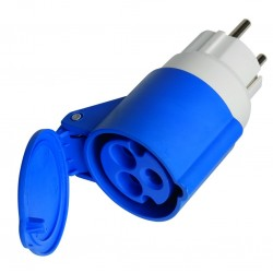 Adaptador clavija sucko 4,8mm. 16A. 250V. a base aérea cetac 3P (2P+t) IP44- 16A. 250V.