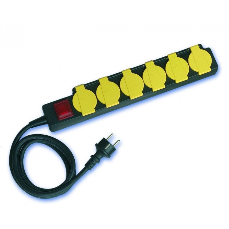 Base múltiple de 6 tomas (6T) con cable eléctrico. 3x1,5mm, 1,5m.