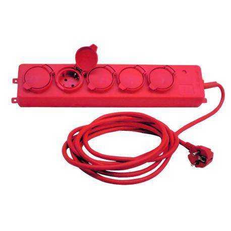 Base múltiple industrial de 5 tomas (5T) con cable eléctrico. 3x1,5mm, 3m.