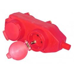 Base múltiple industrial de 4 tomas (4T) con tapa y sin cable, para enchufe 2P+TT lateral, Máx.3500W-16A-230V.