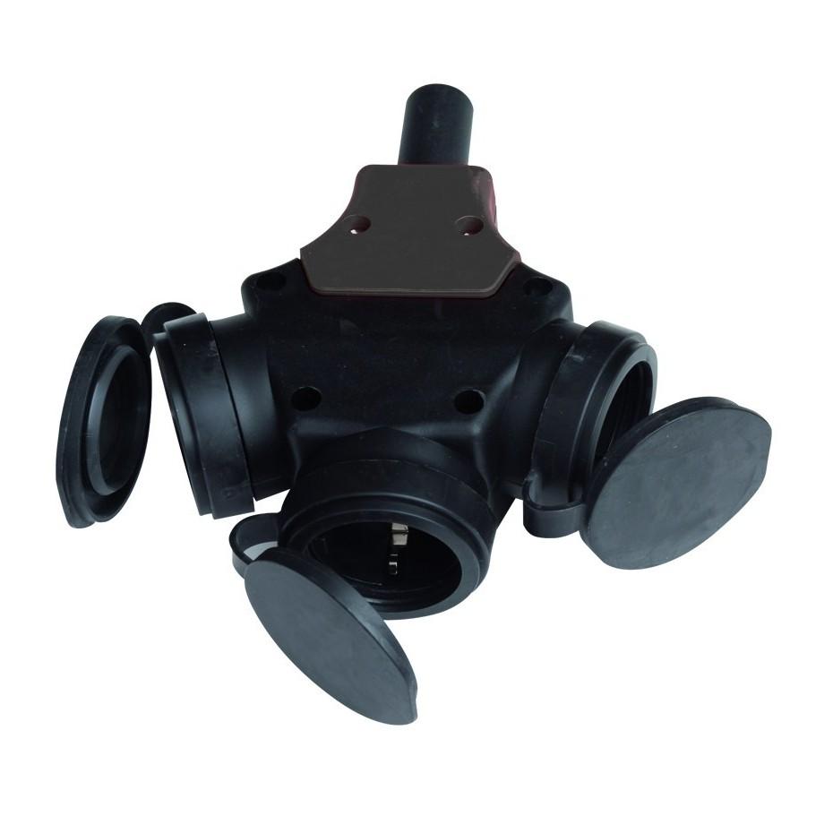 Triple sucko industrial goma con tapas para engarzar cable, uso externo. IP44-16-250V.