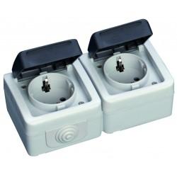 Base doble serie estanca IP44, uso exterior, 10A, 250V. 50Hz