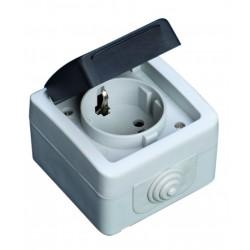 Base simple serie estanca IP44, uso exterior, 10A a 16A, 250V. 50Hz