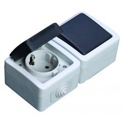 Conmutador + base serie estanca IP44, uso exterior, 10A a Conmutador: 10A, Base 16A, 250V. 50Hz