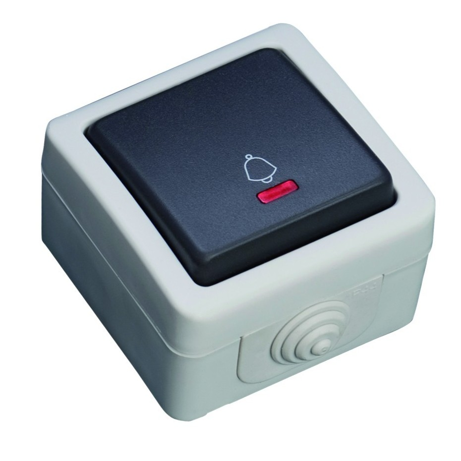 Pulsador con LED luminoso serie estanca, Uso exterior. IP44, 10A, 250V- 50Hz.