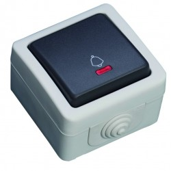Interruptor con LED luminoso serie estanca, Uso exterior. IP44, 10A, 250V- 50Hz.