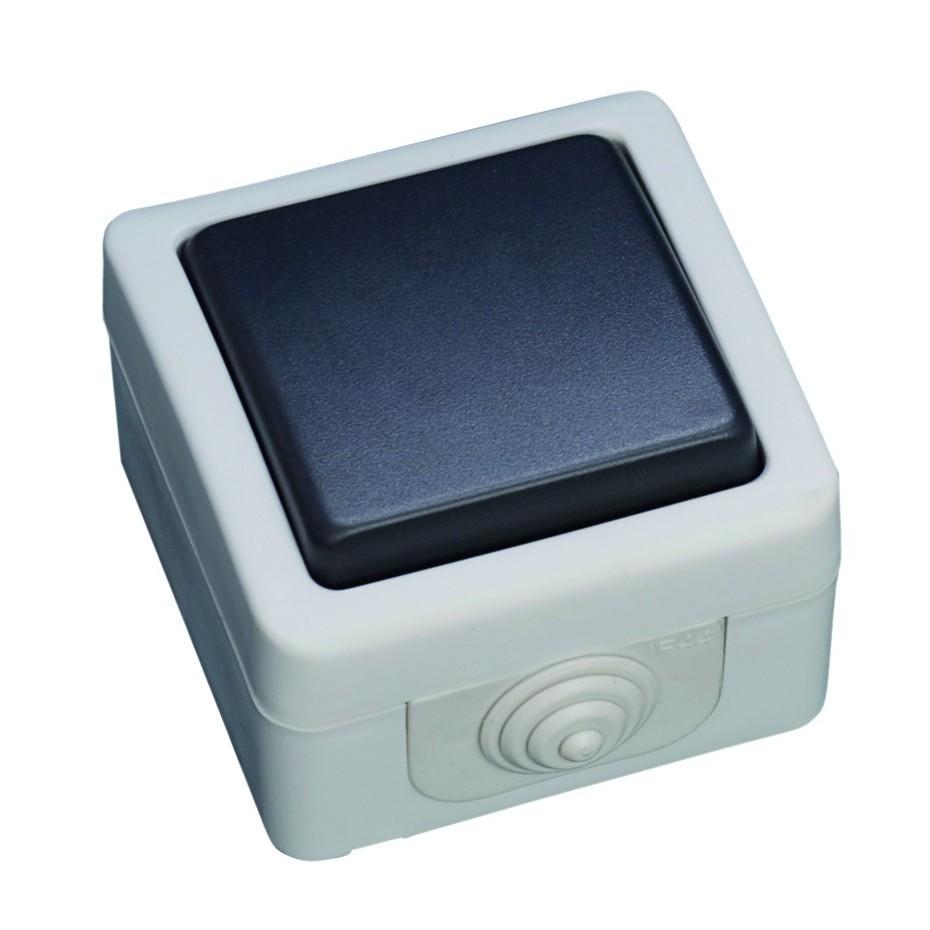 Pulsador serie estanca, Uso exterior. IP44, 10A, 250V- 50Hz.