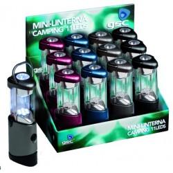 Caja 12 Linternas de camping de 11 LEDs. con asa para colgar.