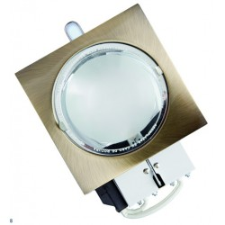 Mini-Downlight empotrable cuadrada de bajo consumo. Bronce, 2x9W.