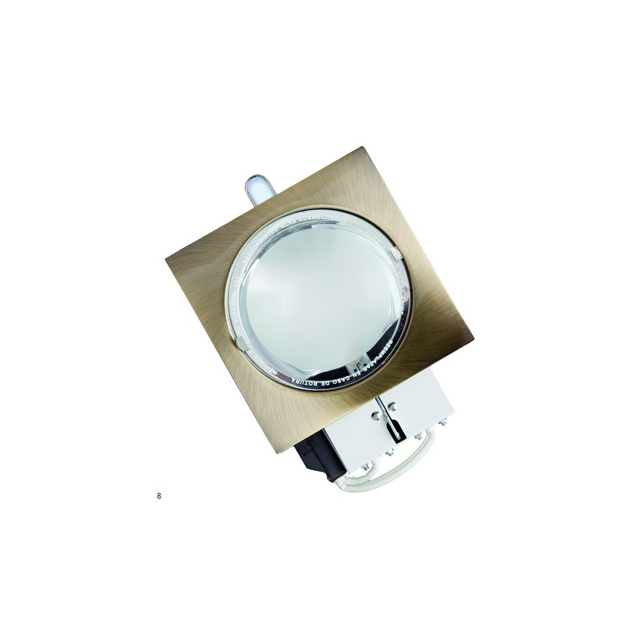 Mini-Downlight empotrable cuadrada de bajo consumo. Bronce, 2x9W.