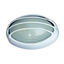 Aplique semi-ovalado de aluminio E27, color Blanco.
