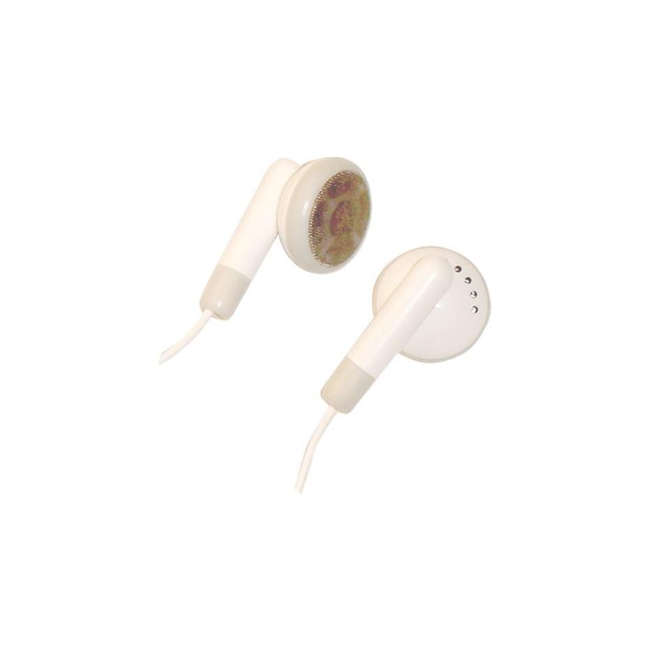 Auricular estéreo de boton 15mm 1,2m.Jack 3,5mm Blanco.