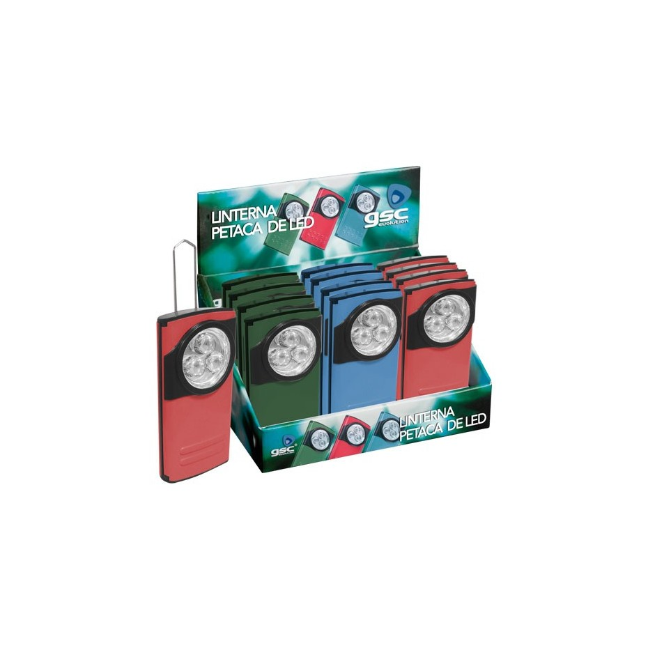 Expositor 12 uds. Linterna Petaca 3 LEDs,-Usa 3R03(AAA).