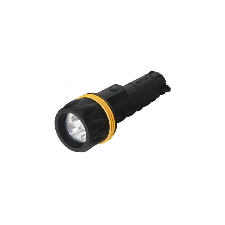 Linterna goma, resiste el agua 3 LEDs, Negra - Blister. 2 pilas R20
