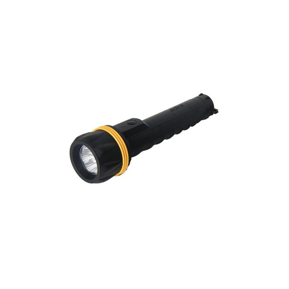 Linterna goma, resiste el agua 3 LEDs, Negra - Blister. 3 pilas R20