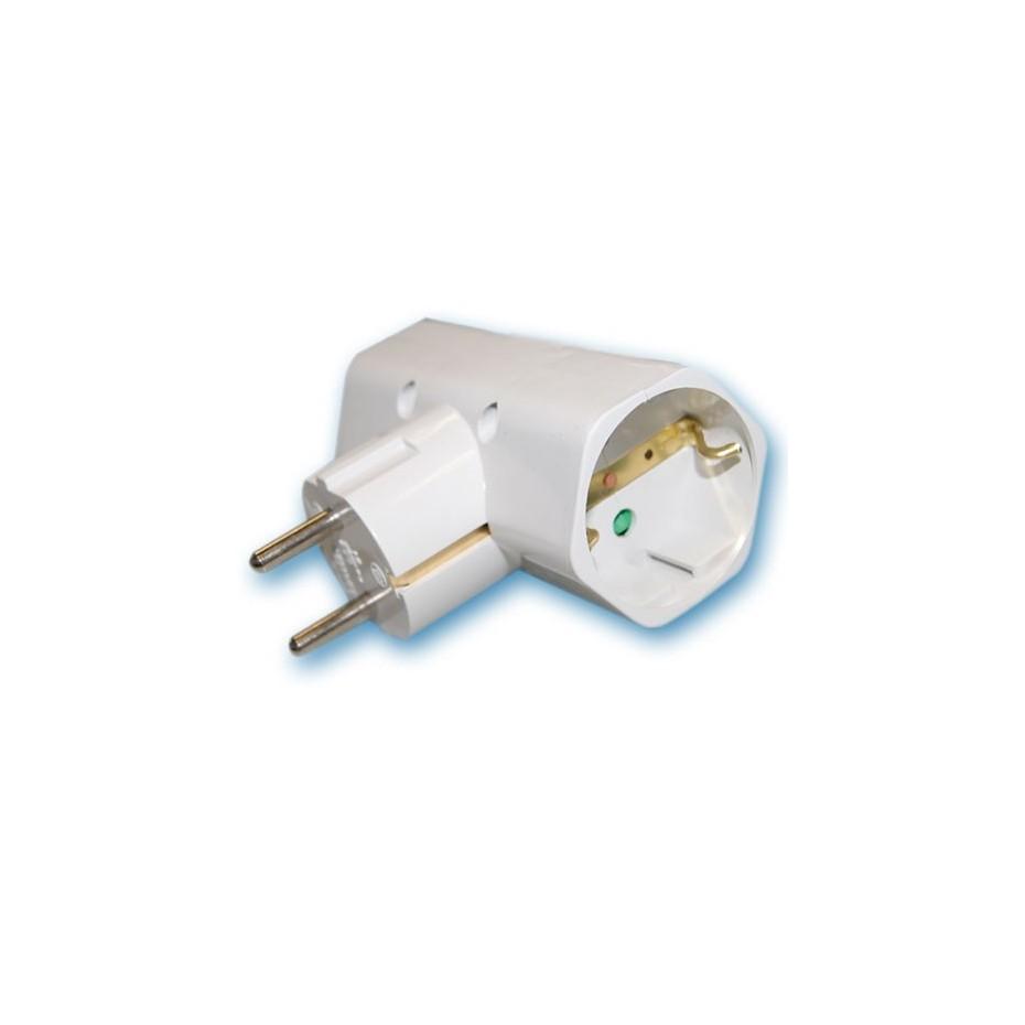 Adaptador doble sucko 2P+TT lateral. Policarbonato, 10/16A. 250V. máx.3500w.