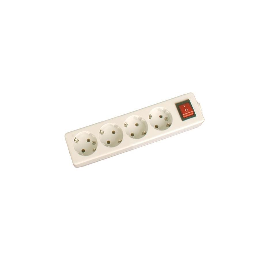 Base múltiple de 4 tomas (4T) con interruptor y sin cable serie mega