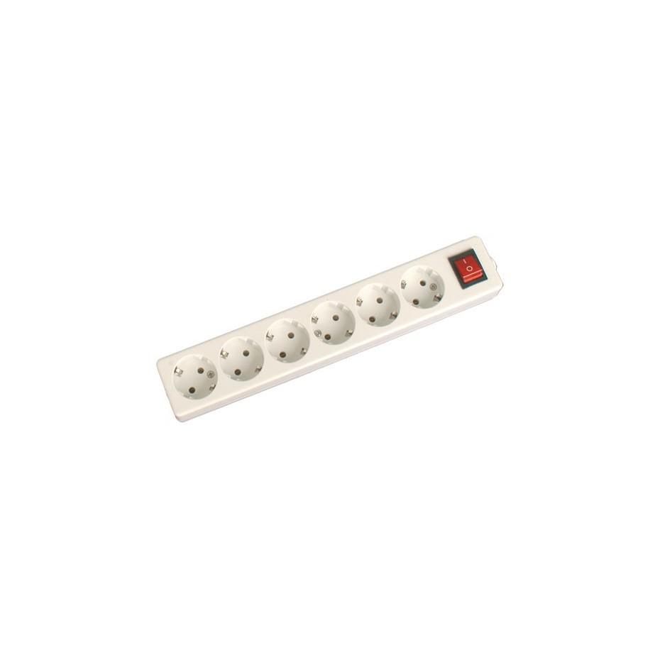 Base múltiple de 6 tomas (6T) con interruptor y sin cable serie mega
