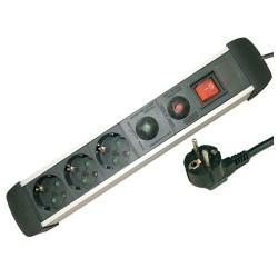 Base múltiple de Aluminio de 3T/Int. (3x1,5mm) 1,5M. con protección.