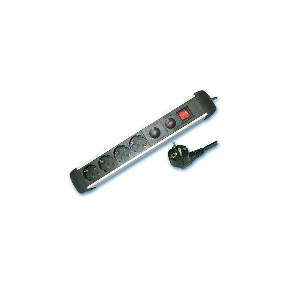 Base múltiple de Aluminio de 4T/Int. (3x1,5mm) 1,5M. con protección.
