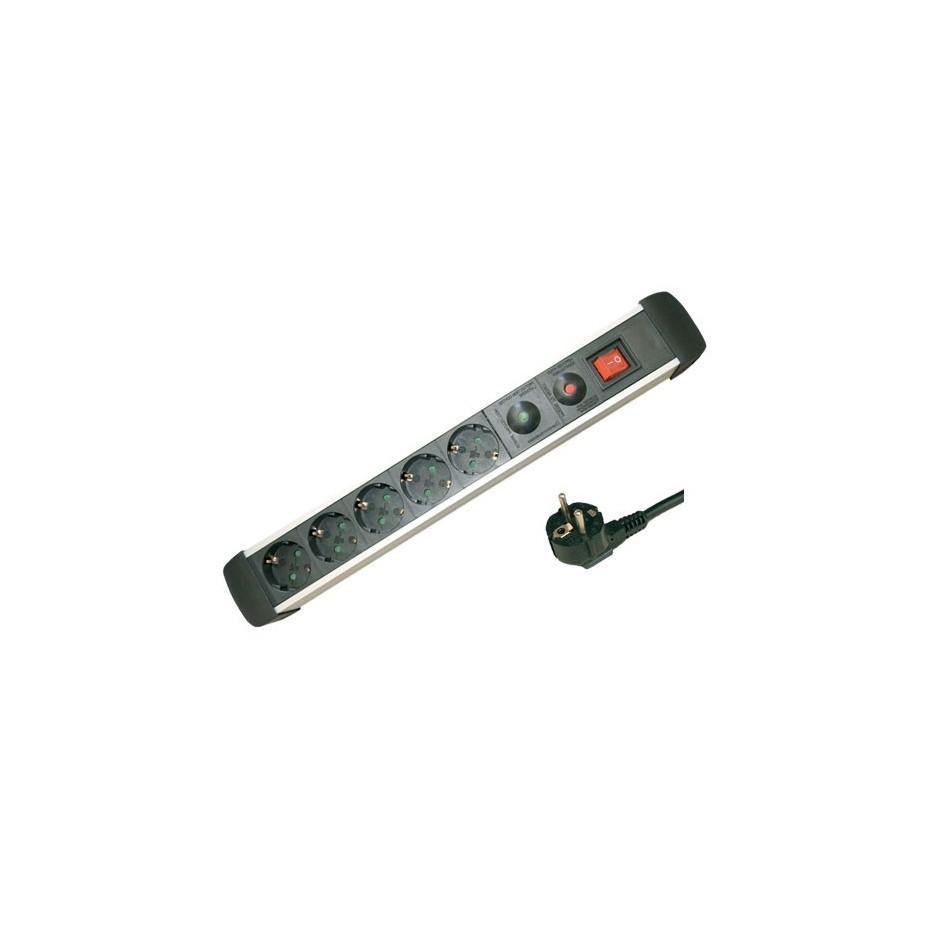 Base múltiple de Aluminio de 5T/Int. (3x1,5mm) 1,5M. con protección.