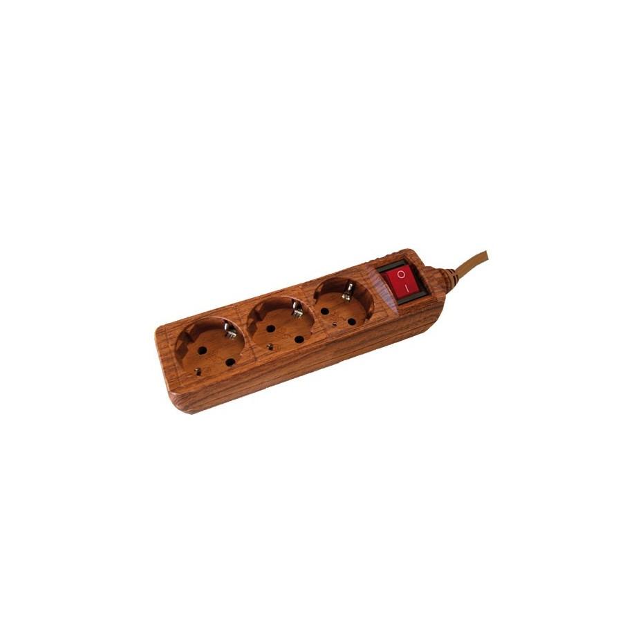 Base múltiple madera de 3 tomas (3T) con cable eléctrico 1,5 Metros serie madera.