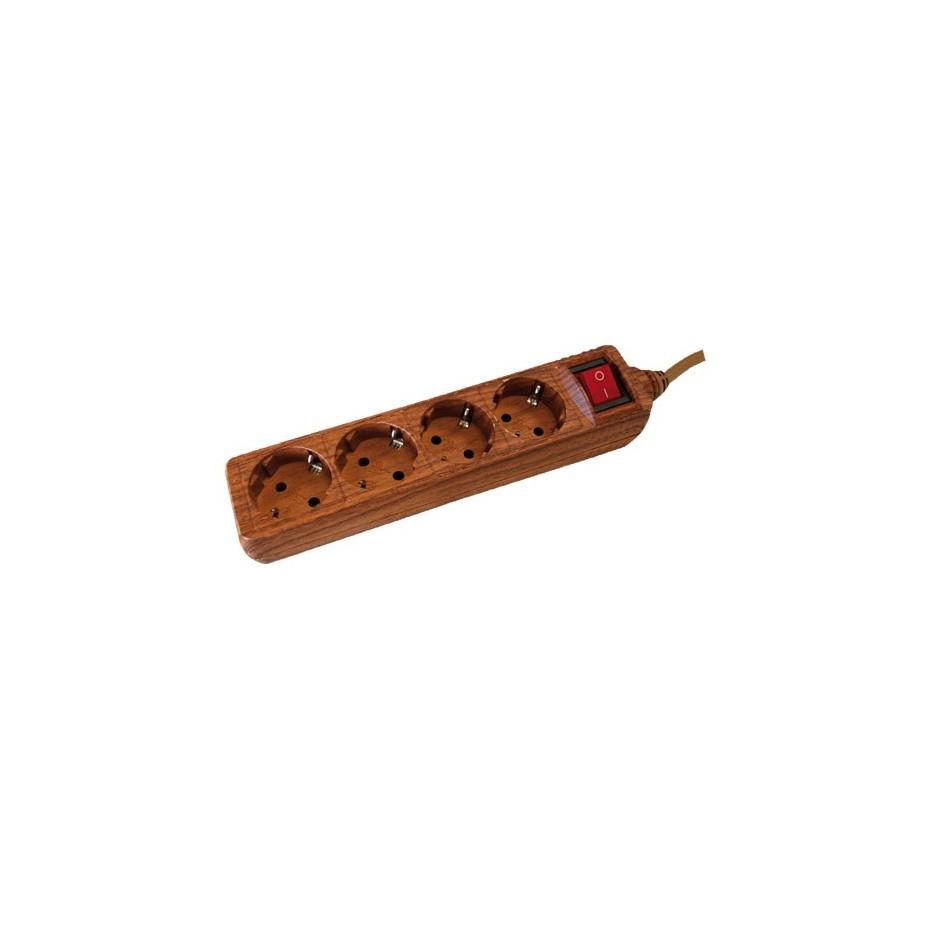Base múltiple madera de 4 tomas (4T) con cable eléctrico 1,5 Metros serie madera.