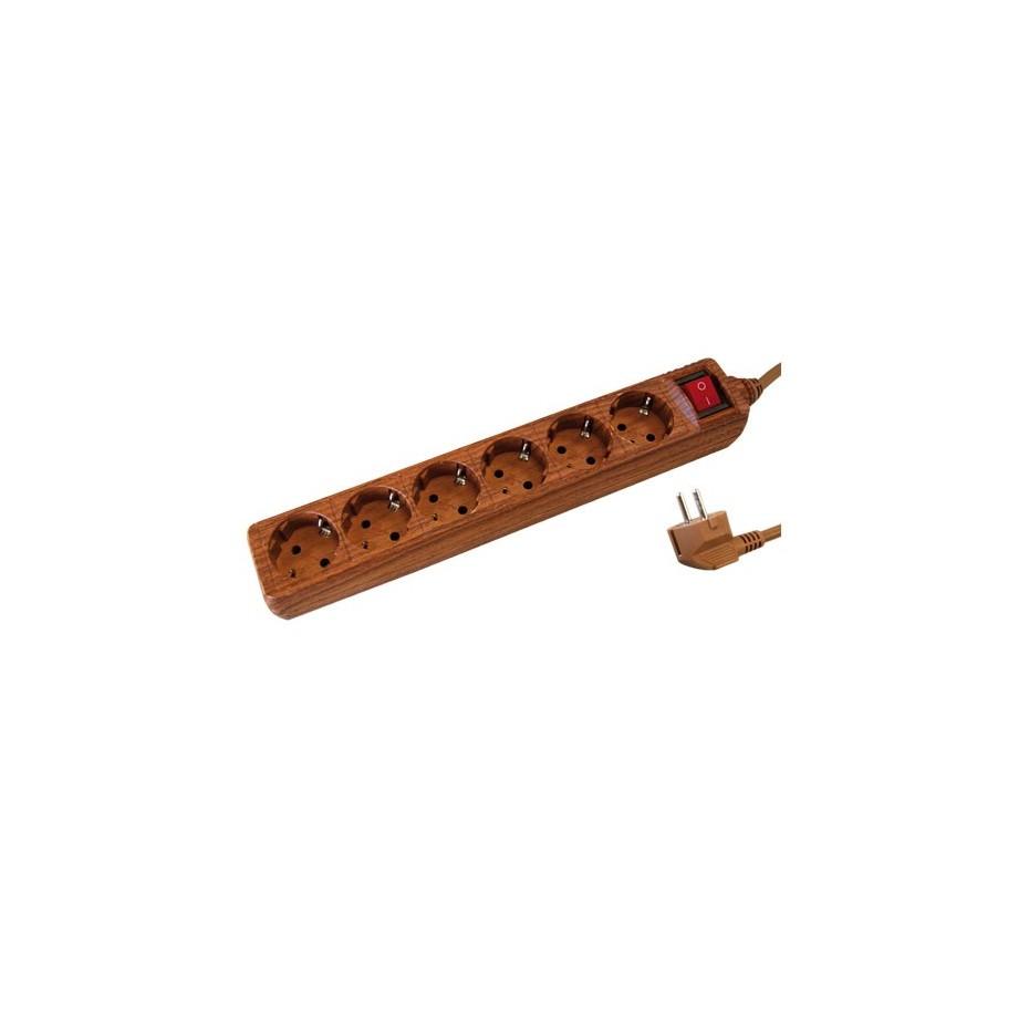 Base múltiple madera de 6 tomas (6T) con cable eléctrico 1,5 Metros serie madera.