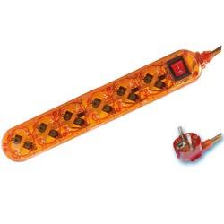 Base múltiple transparente Naranja de 6 tomas/Int. (6T) con cable eléctrico 1,5 Metros serie Transparente.