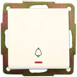 Pulsador de empotrar luminoso campana blanco, 56x56mm.10A, 250V.