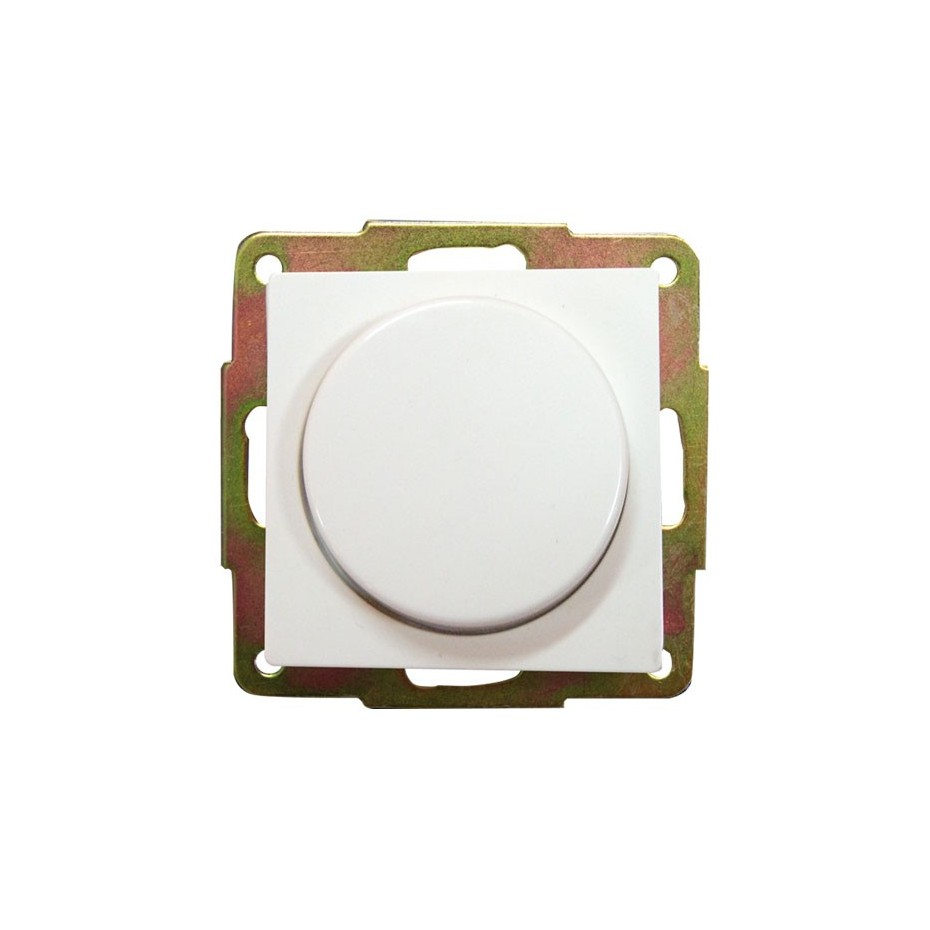 Regulador de luz por giro de empotrar blanco, 56x56mm.10A, 250V.