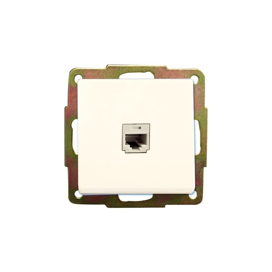 Base Internet RJ45 de empotrar Blanco, 56x56mm.