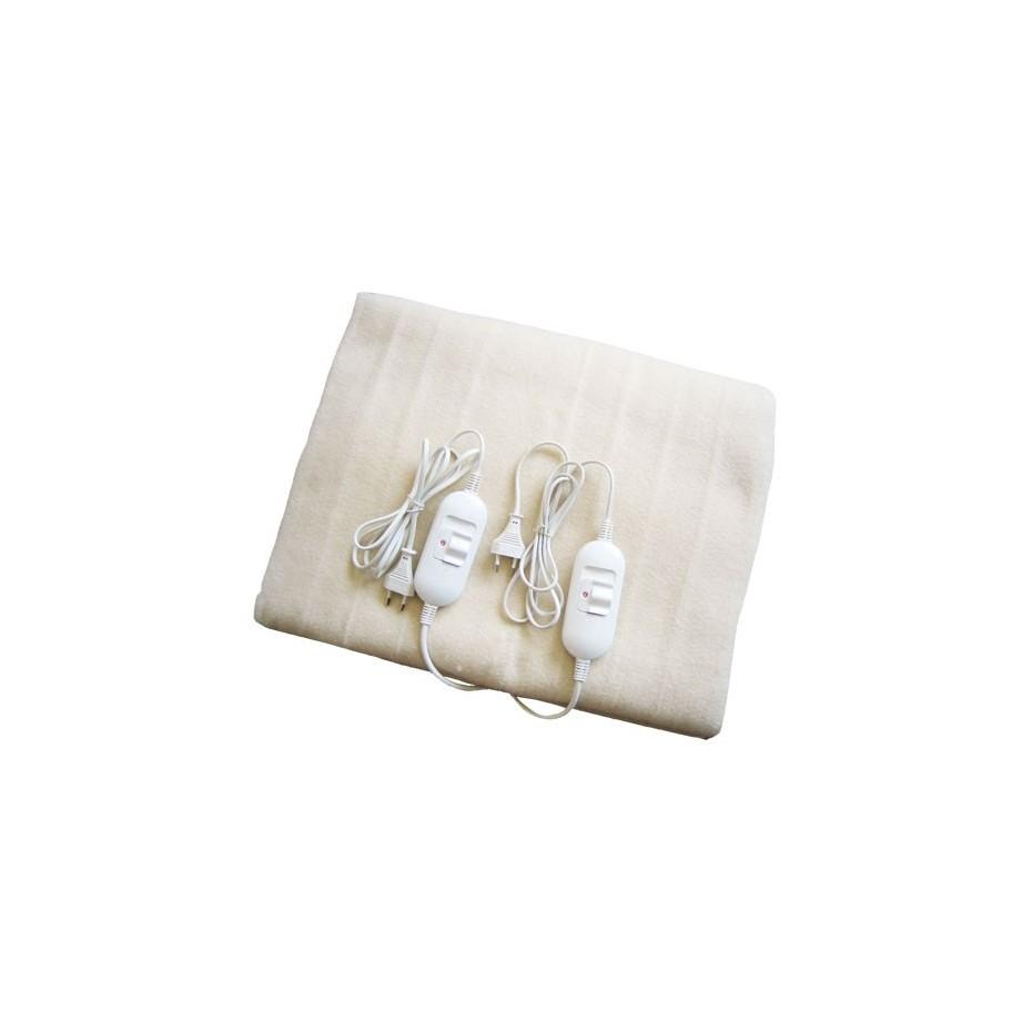 Manta electrica doble 160xx140cm. 2 x 60W- Blanca.