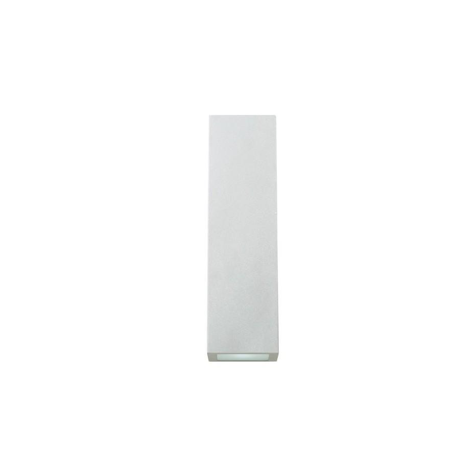 Aplique de pared de Aluminio con difusor de cristal translucido, Portalamparas GU10, IP44, 35 Watios. 300x75x75mm.